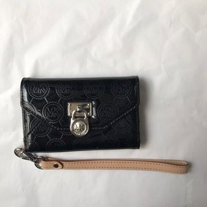 Michael Kors Black card and cell phone wristlet